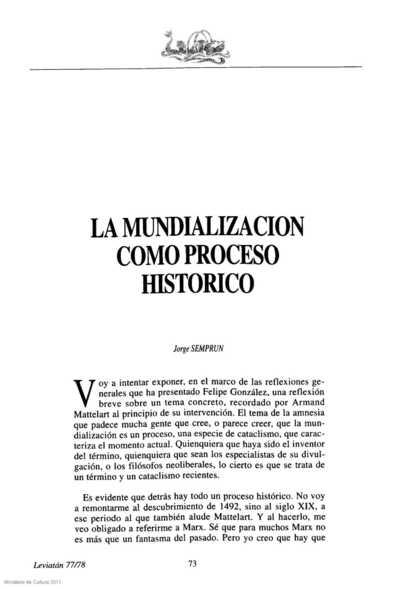 La mundialización como proceso histórico