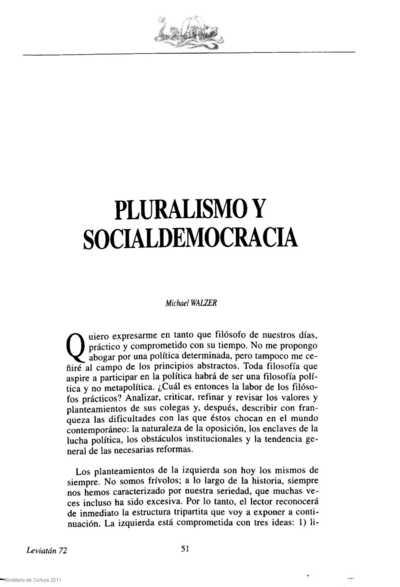 Pluralismo y socialdemocracia