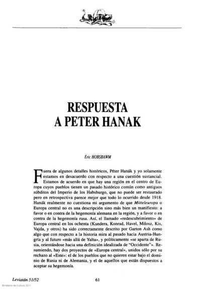 Respuesta a Péter Hanak