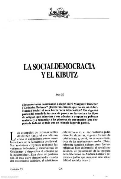 La socialdemocracia y el Kibutz