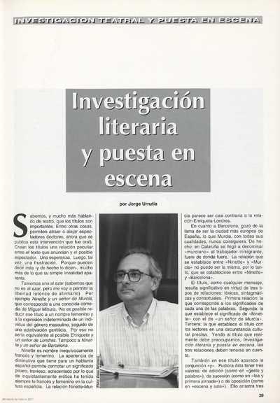 Investigación literaria y puesta en escena
