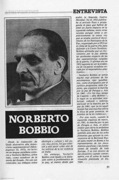 Norberto Bobbio entrevista