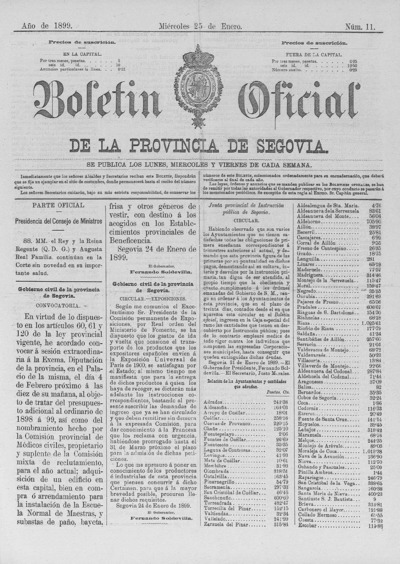 Image from object titled Boletín de Segovia: Número 11 - 1899 enero 25