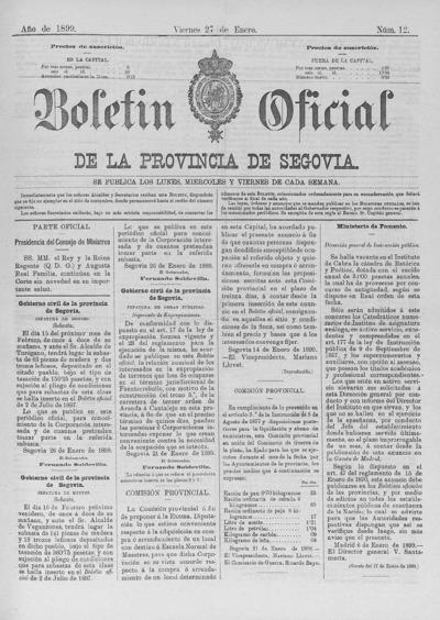 Image from object titled Boletín de Segovia: Número 12 - 1899 enero 27