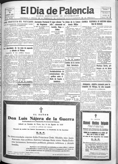 Image from object titled El Día de Palencia : defensor de los intereses de Castilla: Año XLVI Epoca 2ª Número 14379 - 1936 agosto 14
