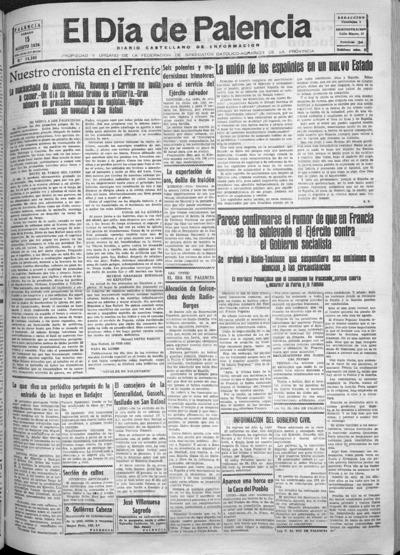 Image from object titled El Día de Palencia : defensor de los intereses de Castilla: Año XLVI Epoca 2ª Número 14380 - 1936 agosto 15