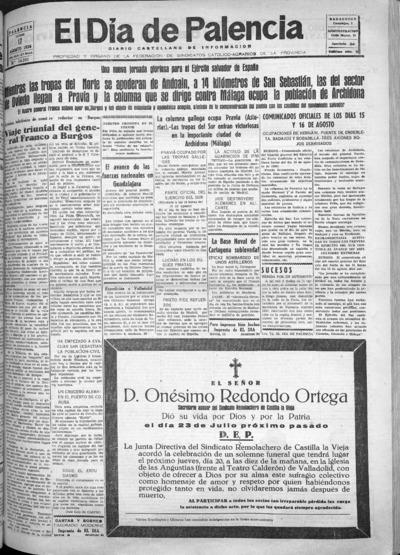 Image from object titled El Día de Palencia : defensor de los intereses de Castilla: Año XLVI Epoca 2ª Número 14381 - 1936 agosto 17