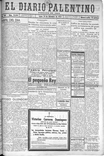 Image from object titled El Diario Palentino : defensor de los intereses de la capital y la provincia. El más antigüo y de mayor circulación: Año LIII Número 15345 - 1934 diciembre 24