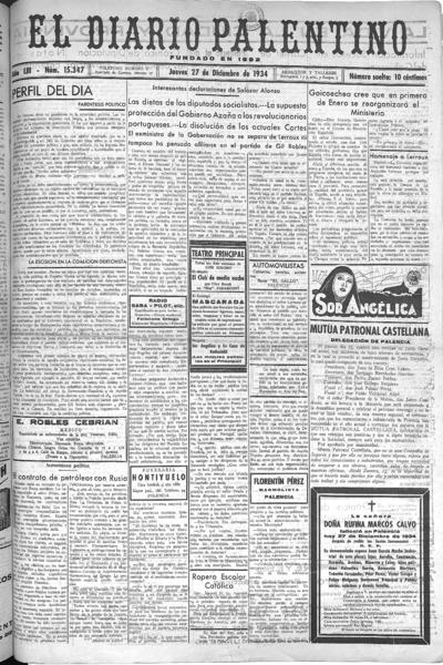 Image from object titled El Diario Palentino : defensor de los intereses de la capital y la provincia. El más antigüo y de mayor circulación: Año LIII Número 15347 - 1934 diciembre 27