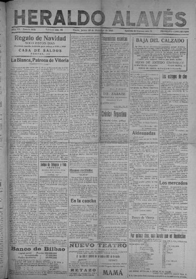 Image from object titled Heraldo Alavés : Diario independiente de la tarde: Año XX Número 8051 - 1920 diciembre 30