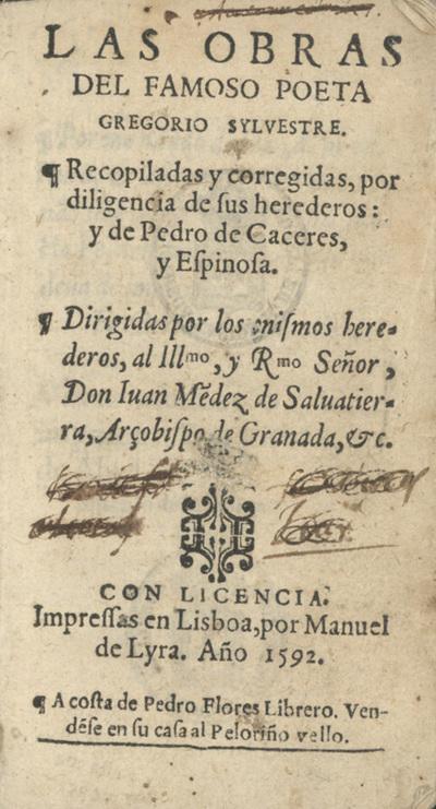 Las obras del famoso poeta Gregorio Syluestre