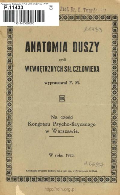 Anatomia duszy czyli wewnętrznych sił człowieka : na cześć Kongresu Psycho-fizycznego w Warszawie