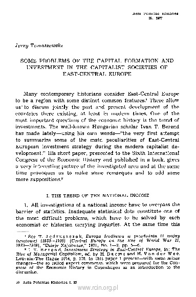 Some Problems of the Capital Formation and Investment in the Capitalist Societies of East-Central Europe