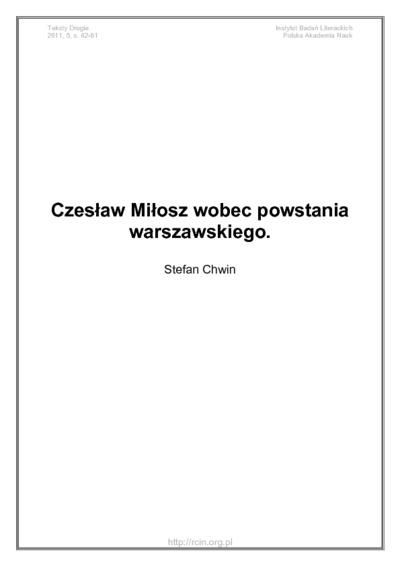 Czesław Miłosz wobec powstania warszawskiego