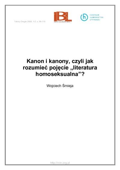"""Image from object titled Kanon i kanony, czyli jak rozumieć pojęcie """"literatura homoseksualna"""""""