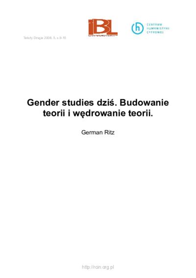 Gender studies dziś. Budowanie teorii i wędrowanie teorii.