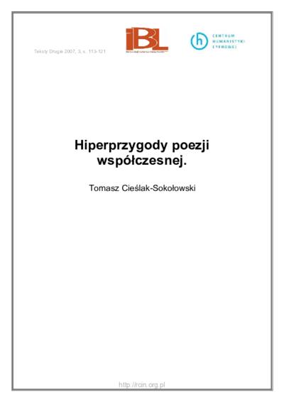 Hiperprzygody poezji współczesnej