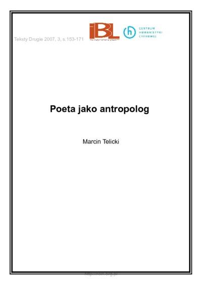 Poeta jako antropolog