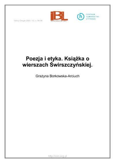 Poezja i etyka. Książka o wierszach Świrszczyńskiej