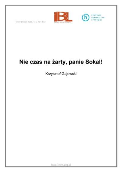 Nie czas na żarty, panie Sokal