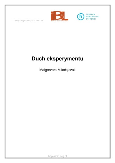 Image from object titled Duch eksperymentu