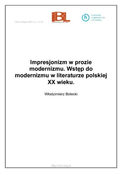 Impresjonizm w prozie modernizmu. Wstęp do modernizmu w literaturze polskiej XX wieku