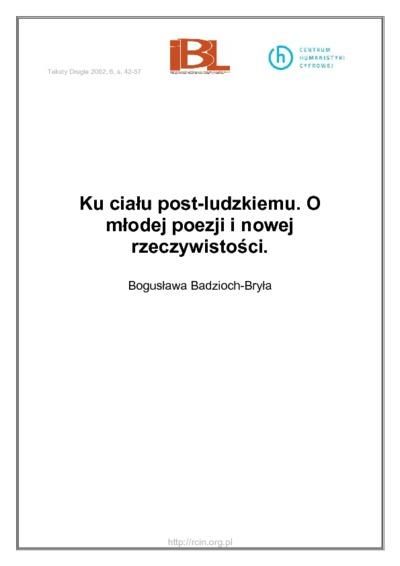 Image from object titled Ku ciału post - ludzkiemu. O młodej poezji i nowej rzeczywistości