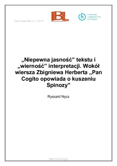Niepewna Jasność Tekstu I Wierność Interpretacji Wokół