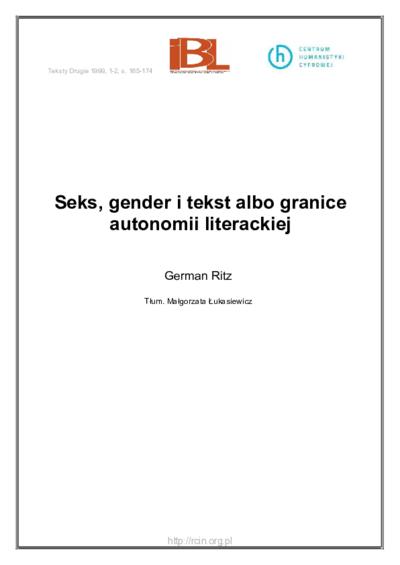 Seks, gender i tekst albo granice autonomii literackiej