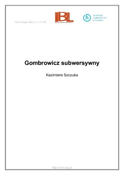Gombrowicz subwersywny
