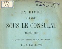 Un hiver à Paris sous le Consulat (1802-1803) d'après les lettres de J.-F. Reichardt / par A. Laquiante