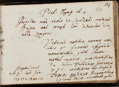 Albuminscriptie / van Tobias Andreae (1604-1676) voor Johannes Fredericus Gronovius (1611-1671)