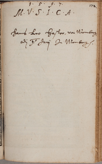 Albuminscriptie / van Hanns Leo Hasler (1564-1612), componist en klokkenbouwer, voor Johannes Maior, uit Nürnberg