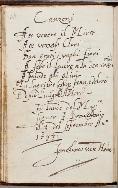 Albuminscriptie / van Joachim van den Hove (1567-1620), componist, voor Jacob van Brouckhoven (1577-1642)