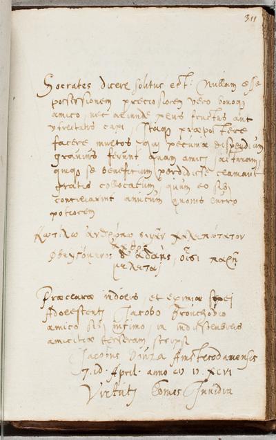 Albuminscriptie / van Jacob van der Does (1575-1630) uit Amsterdam voor Jacob van Brouckhoven (1577-1642)