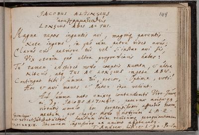 Albuminscriptie / van T[obias] Andrea (1604-1676), hoogleraar, voor Jacobus Alting (1618-1679)