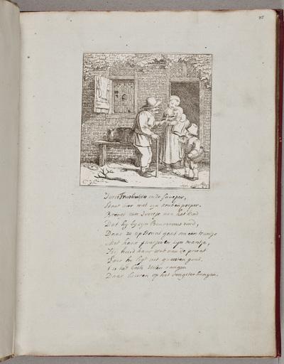 Gravure: oude man bij vrouw en kinderen / door Chr[istin]a Chalon (1749-1808)