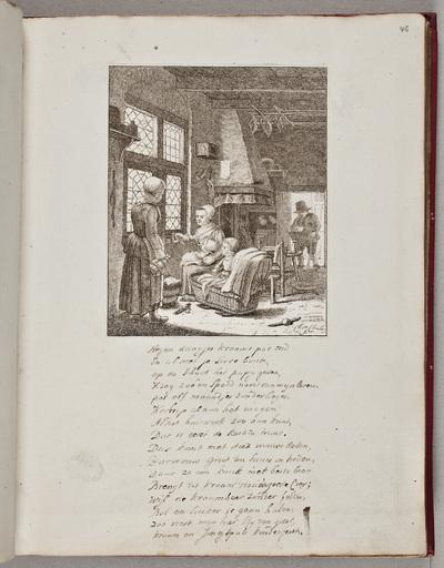 Gravure: familieportret met pasgeboren kindje / door Christina Chalon (1749-1808)