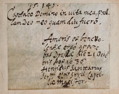 Albuminscriptie / van Henricus Sagittarius (1585-1672), musicus, voor Burchard Grossmann