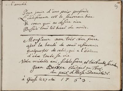 Albuminscriptie / van Johann Becker, voor Georg Christoph Wagenbronner, student theologie