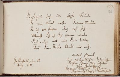 Albuminscriptie / van Magnus Gottfried Lichtwer (1719-1783), voor Laurentius van Santen (1746-1798)