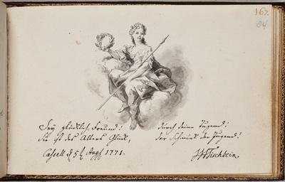Albuminscriptie / van [Johann Heinrich Wilhelm] Tischbein [(1751-1829)?], voor Laurentius van Santen (1746-1798)