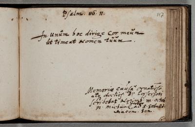 Albumbijdrage / van Michaël Weber (1593-1668), diaken van de St. Sebaldkerk [in Nürnberg]