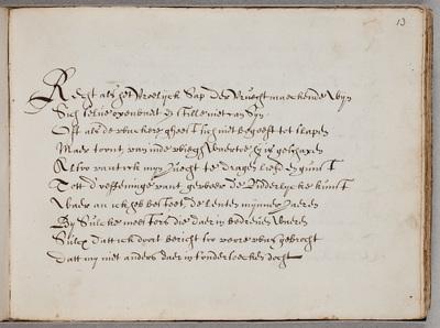 Gedicht / [door Gerbrand Adriaensz. Bredero (1585-1618)], ondertekend door Nicolaes van der Laen, C[ornelis] van Hogelande (1590-) en Jan de Mathenesse, in het album van Gerard Thibault (ca. 1574-1627)
