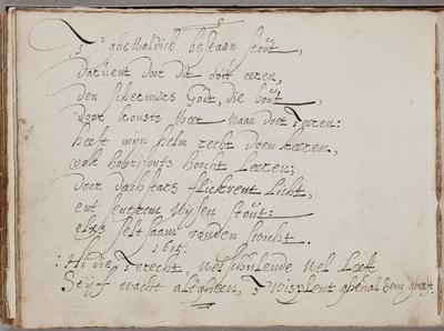 Gedicht / door Jan Sijmonsz. van der Beek [=Johannes Torrentius] (1589-1644) in het album van Gerard Thibault (ca. 1574-1627)