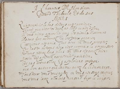 Gedicht / door N[icolas] Vallet (ca. 1583-ca. 1642) in het album van Gerard Thibault (ca. 1574-1627)