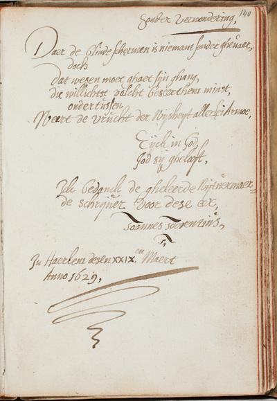 Albuminscriptie / van Johannes Torrentius (1589-1644), schilder, voor Petrus Scriverius (1576-1660), historicus en letterkundige