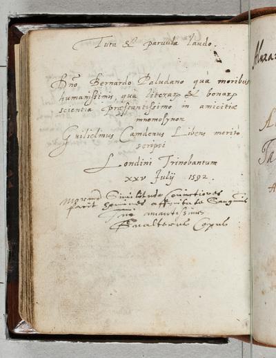 Albuminscriptie / van Guilielmus Camdenus (1551-1623), voor Bernardus Paludanus (1550-1633)