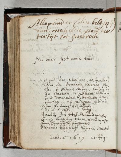 Albuminscriptie / van Allexander Colin (1526-1612), beeldhouwer uit Mechelen, voor Bernardus Paludanus (1550-1633)
