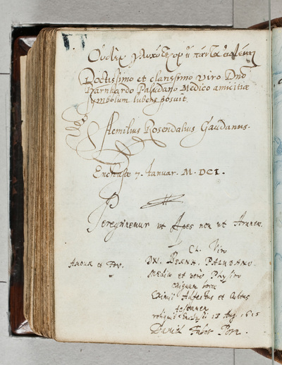 Albuminscriptie / van David Faber uit Pommeren, voor Bernardus Paludanus (1550-1633)